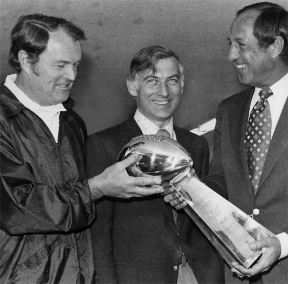 Chuck Noll media photo with Dan Rooney and Pete Rozelle